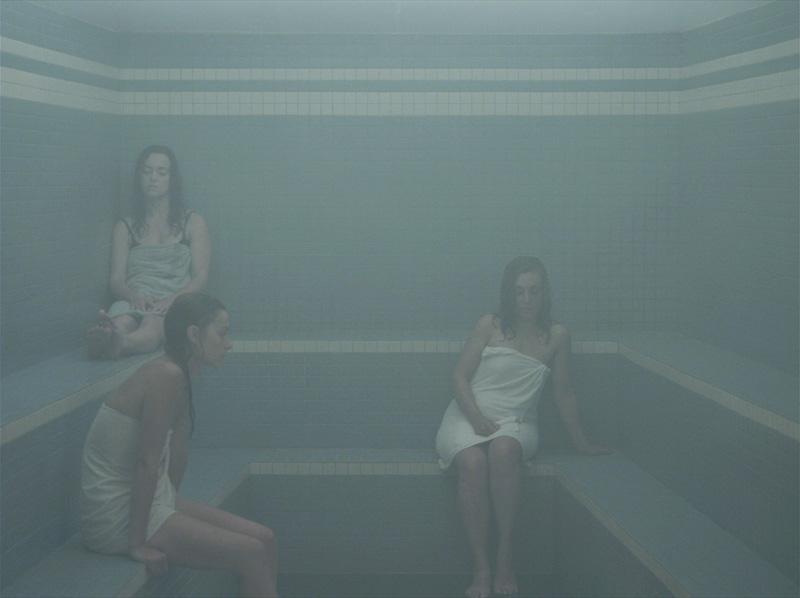 Olivia Boudreau: The Steam Room (2011). HD sequence, colour, sound, 20 minutes.  Collection of the Musée d'art contemporain de Montréal. Images courtesy the artist.