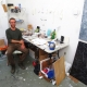 Toronto artist Callum Schuster in his Niagara Street studio, July 2014.
