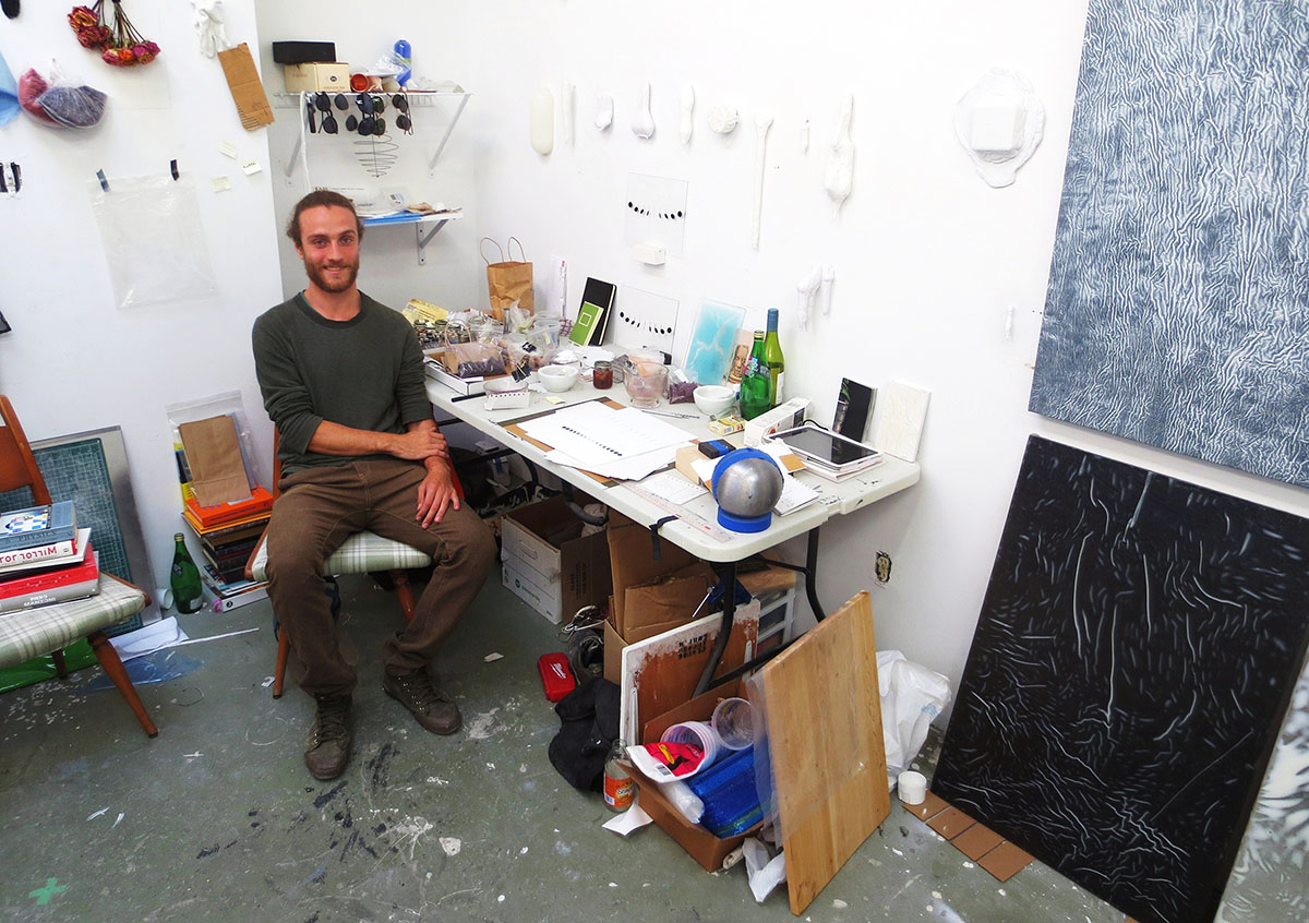 Toronto artist Callum Schuster in his Niagara Street studio, July 2014. Photos by Bill Clarke.