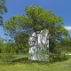 "Letha Wilson: Wall in Blue Ash Tree (2011). Drywall, joint compound, paint, wood studs. 18' h x 16' w x 4""d. Installation at the Morton Arboretum, Lisle, Illinois."