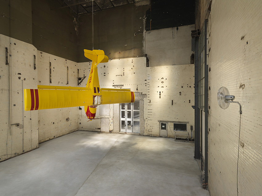 Roman Signer: Kitfox Experimental (2014). Site-specific installation at the Kesselhaus (Boiler House). Images courtesy KINDL Centre for Contemporary Art, Berlin.