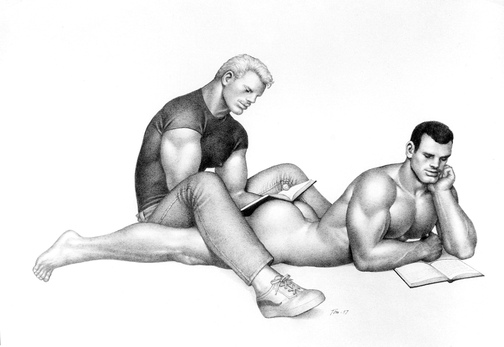 Tom of Finland: Untitled, (1987). Graphite on paper. Tom of Finland Foundation, Permanent Collection.