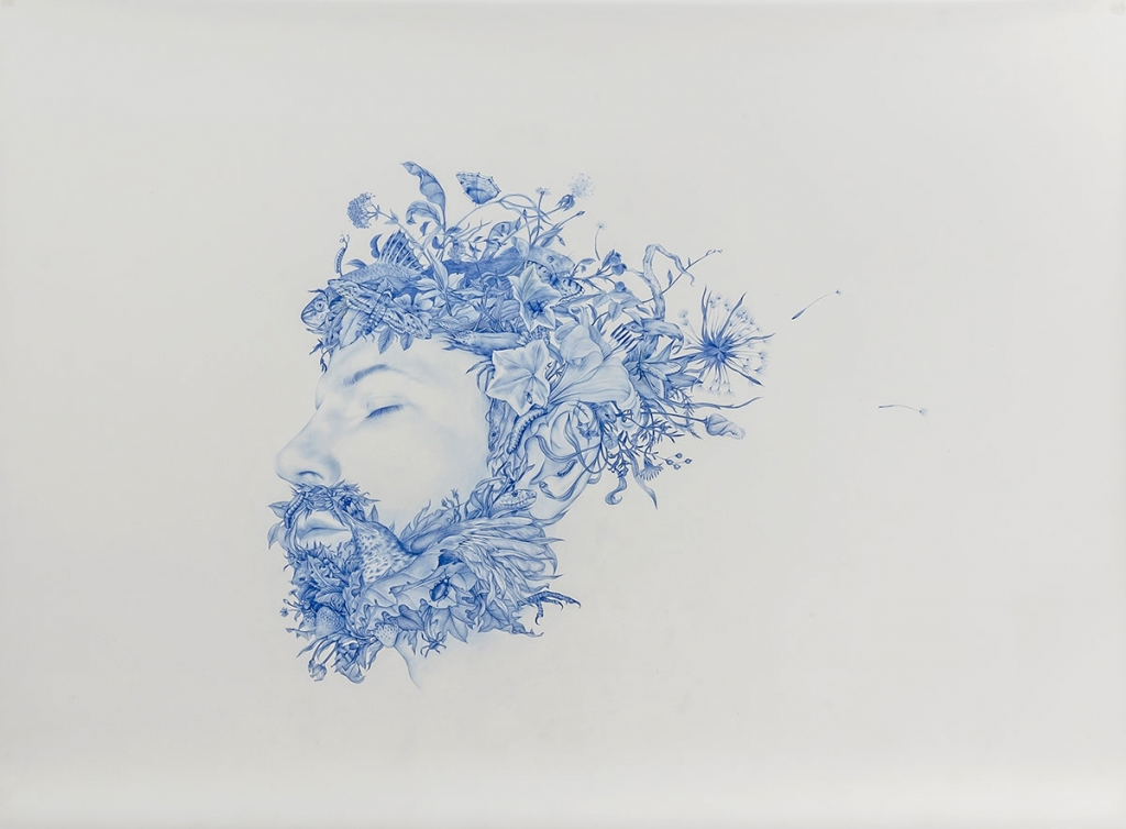 Zachari Logan: Wild Man 5 (2015). Blue pencil on Mylar, 23 x 31 3/4 inches.