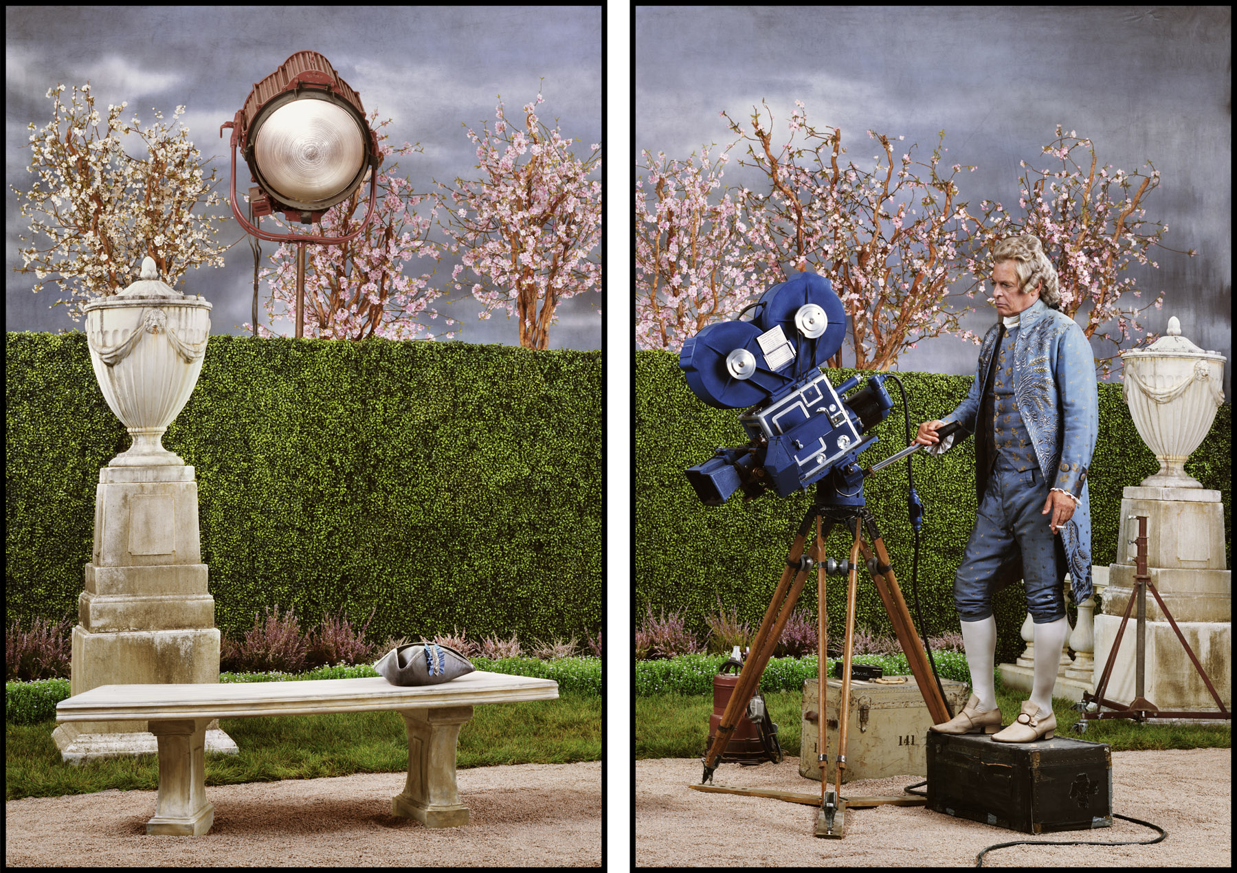 Rodney Graham: Actor/Director, 1954 (2013). Painted aluminium light box with transmounted chromogenic transparency. 91 5/8 x 71 5/8 x 7 inches each panel (91 5/8 x 148 x 7 inches overall). Courtesy the artist and the Rennie Collection, Vancouver.