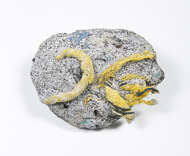 Kelly Jazvac: Plastiglomerate Samples (2013). Plastic and beach sediment, including sand, basalt rock, wood and coral. All of these found-object artworks are the result of a collaboration between Jazvac, geologist Patricia Corcoran and oceanographer Charles Moore. Photos: Jeff Elstone.