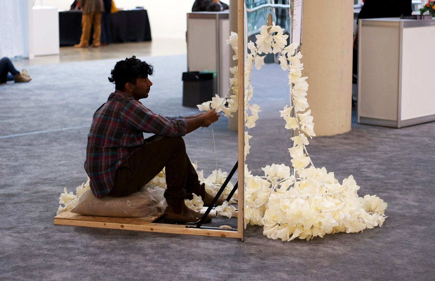 oshua Vettivelu preparing his sculpture Glory Hole for the 2012 iteration of the Art Toronto art fair. Photo: Elise Victoria Louise Winsor. Courtesy the artist.