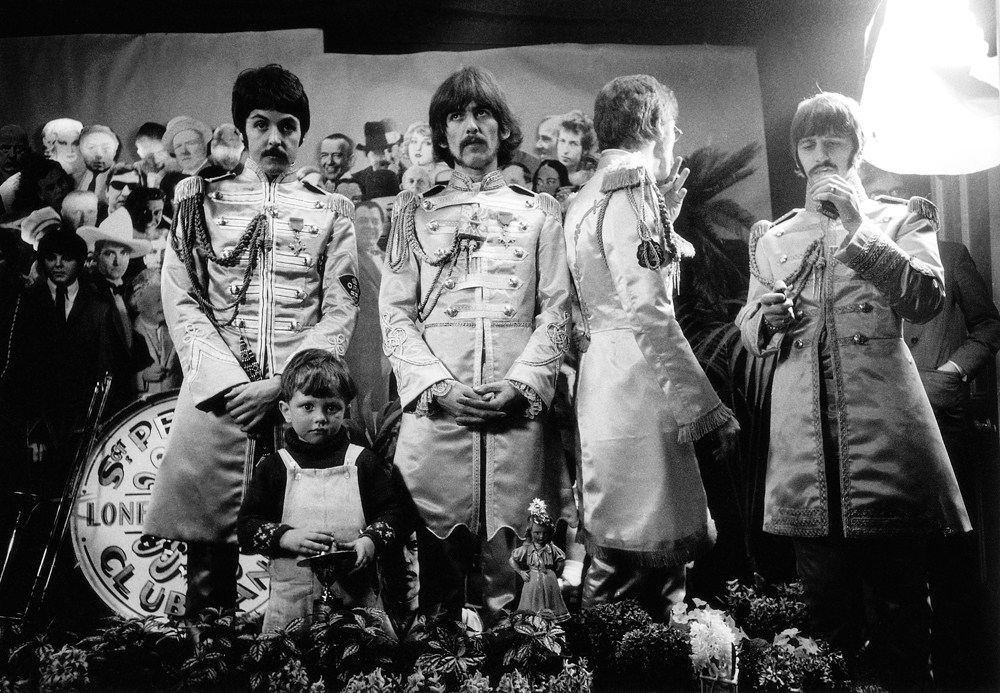The Beatles on the set of the Sgt. Pepper's album cover photo shoot, 1967.