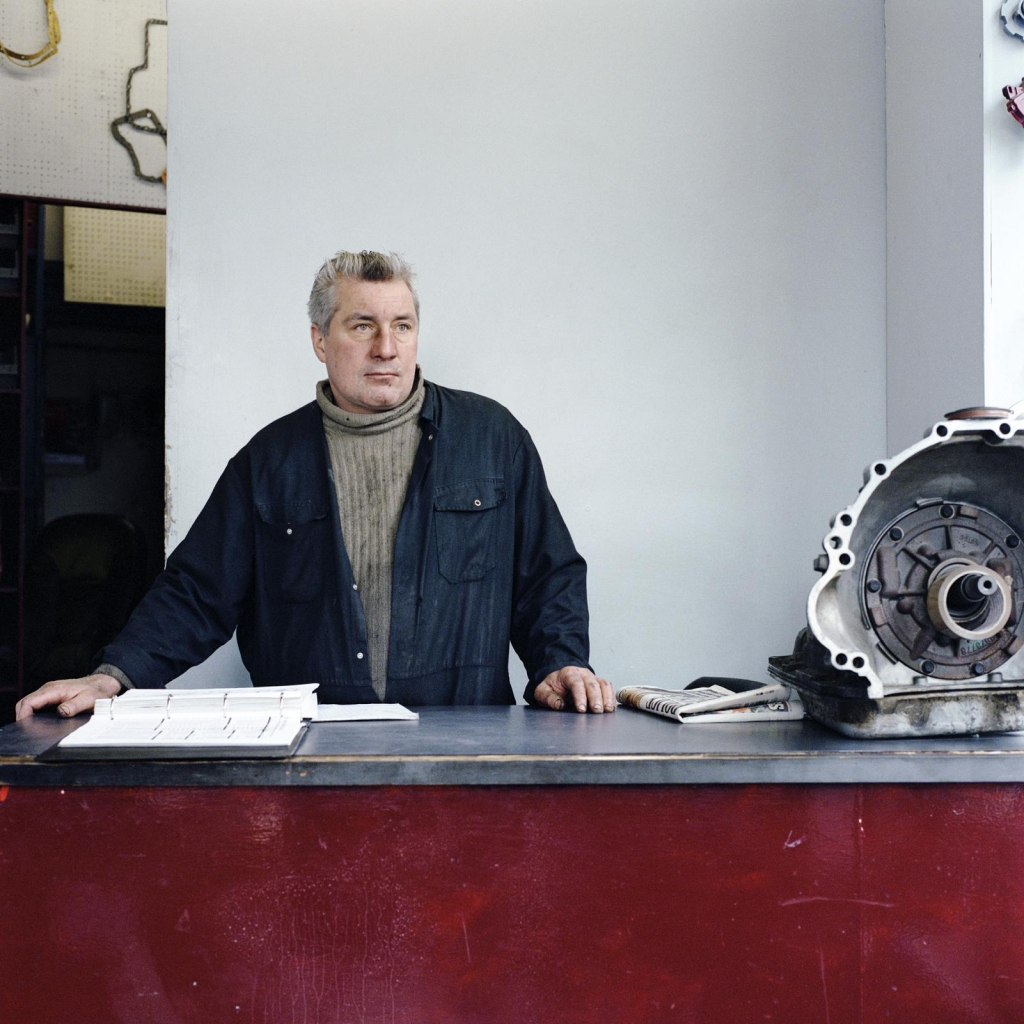 Laura Braun: from the series Metier. Harry Moran is a mechanic at Hornsey Automatic Transmissions Ltd. Photographed, January 2011.