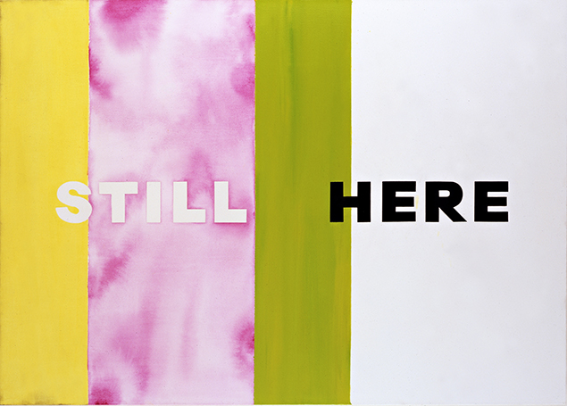 Deborah Kass, Still Here, 2007. Oil and acrylic on canvas, 45 × 63 inches. From Art AIDS America. Private collection.