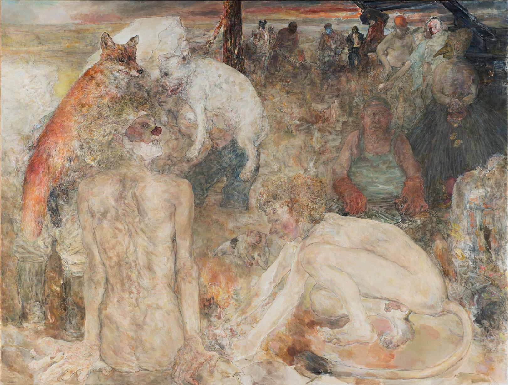 Marion Wagschall: The Melancholy of Carnivores (2014). Acrylic on canvas, 90 x 43 inches.