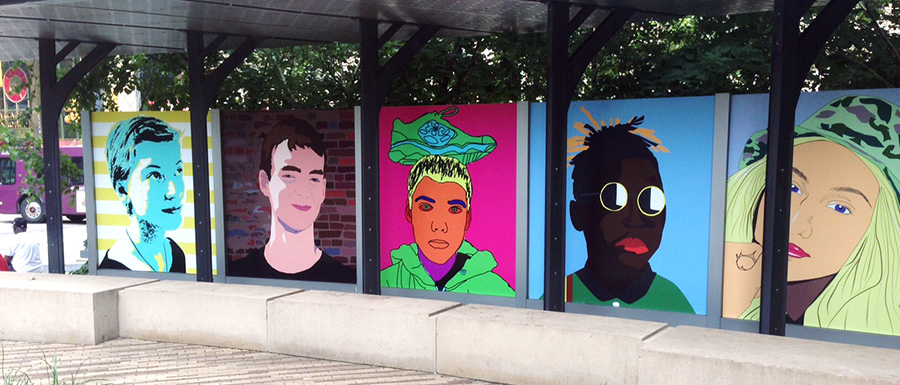 Installation photo of PopArt in Triangle Park
