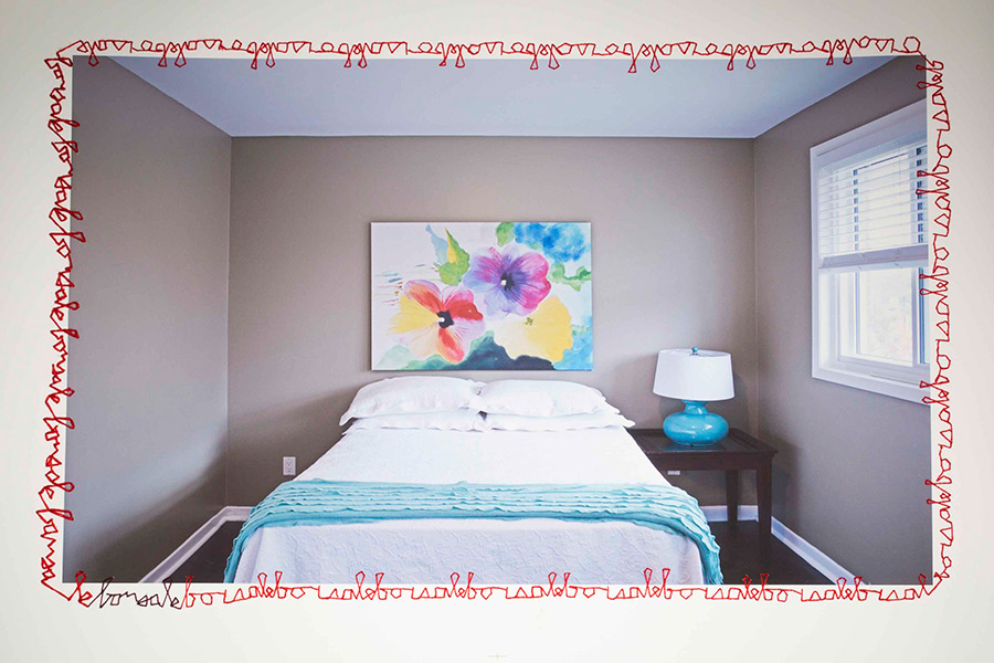 Bed with embroidery by Hannah Vella (Etobicoke School of the Arts)